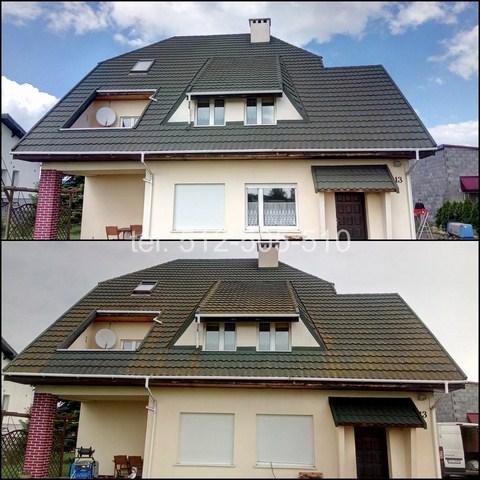 Mycie dachu z porostów