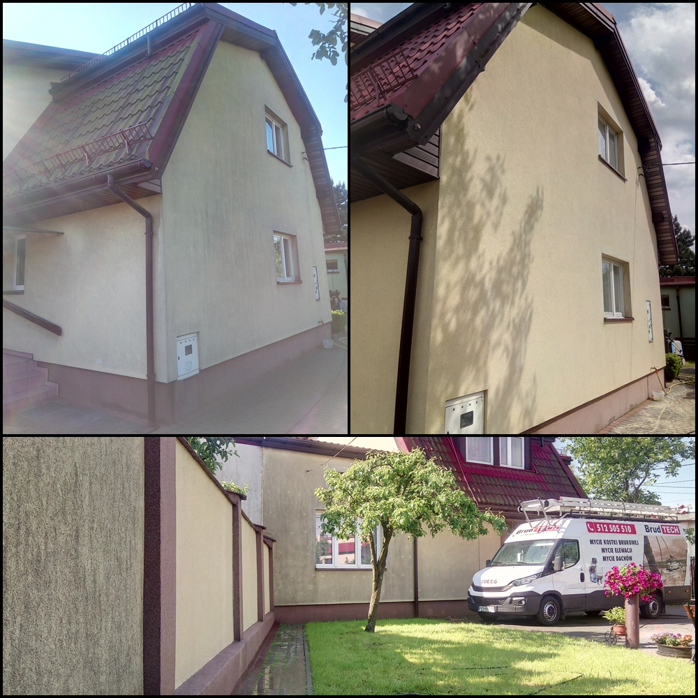 Czyszczenie elewacji budynku z mchu.