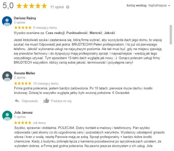 opinie o firmie mycie dachow krakow